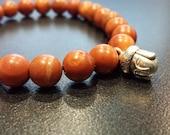 Striped Brown Jasper Buddha Bracelet 7, stretch bracelet, Prosperity Gift, Sister Brother gift, Unisex gift