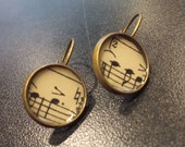 Vintage Sheet Music Earrings Antique Bronze 14 mm, Music Teacher, Musician, Recital, Unique Gift, Mother's Day