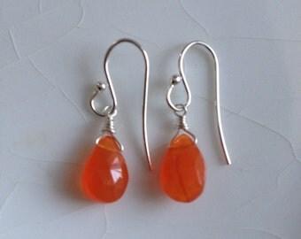 SALE - Rich, Hot and Fiery, Orange Carnelian Faceted teardrop briolette/Pear & Sterling Silver Dangle Earrings