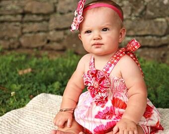 Addie Romper - Pink and Orange Floral Halter Romper