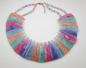 RESERVED FOR J Pastel Necklace Plastic Bib Necklace Huge Pastel Collar Vintage Triangle Plastic
