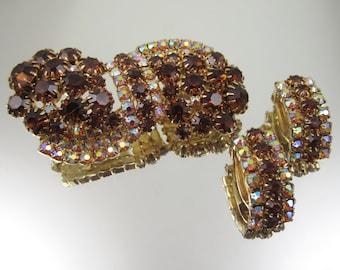 Brown Rhinestone Pin Earrings Set Aurora Borealis Rhinestones Ladies Rhinestone Pin Brown Jewelry Vintage Costume Jewelry