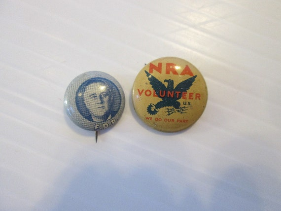 Vintage Political Buttons Lapel Pins Lot Fdr And Nra New Deal
