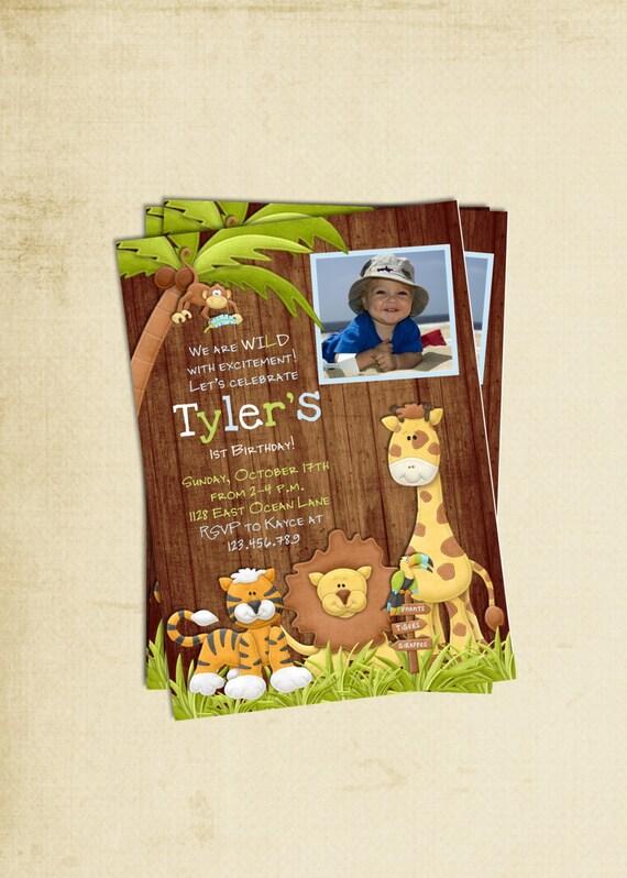 Rustic Jungle Animal Birthday Invitation - Printable Custom Photo