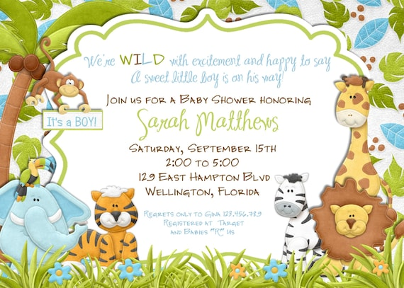 Jungle Animals Baby Shower Invitation - Baby Boy Lion Giraffe Monkey Wood Invite