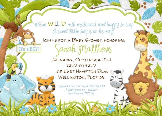 Jungle animals baby shower invitation baby boy lion giraffe monkey il570xn filmwisefo