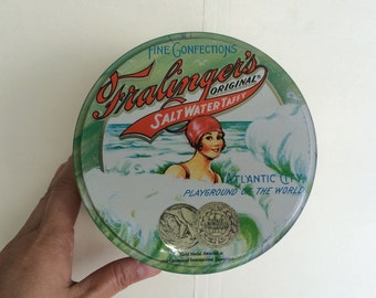 Lovely Lady Bathing Beauty Litho Tin Container Fralinger's Candy Store Prop display Vintage New Jersey