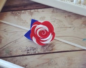 Red White and Blue Felt Rose Headband Newborn Photography Prop Baby Girl Headband 4th of July Girls Headband Toddler Headband Baby Headbands