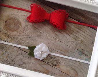 SALE Red Felt Eyelet Bow and White Mini Flower Headband Set Newborn Headbands Baby Girl Headband Set  Photography Prop