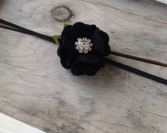 Black Wool Felt Flower Headband Small Flower Headband Baby Girl Headband  Newborn Headband Photography Prop Halloween Holiday Headbands