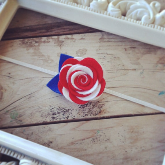 Red White and Blue Rose Headband