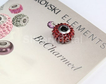 1 pc Swarovski BeCharmed Crystal European Bead charm / Spacer - 180401 15mm - Color : Crystal Red Magma
