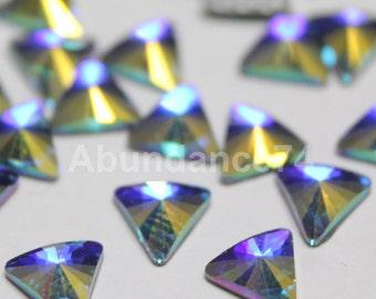 36 pcs Swarovski Crystal 2716 5mm Triangle Flatbacks, Hotfix (with Glue) - Crystal Clear AB folied