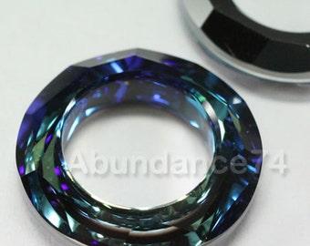 2 pcs Swarovski Crystal 4139 14mm Round Donut Cosmic Ring  - BERMUDA BLUE