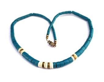 Vintage Natural Turquoise & Gold Heishi Necklace