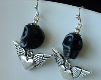Earrings - Day of the Dead Skull Beads - sale clearance OOAK black heart wing - halloween fun