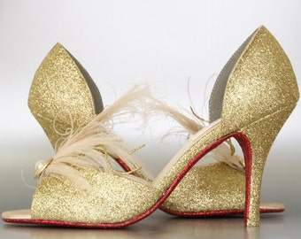 Wedding Shoes -- Gold Glitter Peeptoes with Ivory and Gold Feather Adornment and Red Glitter Sole