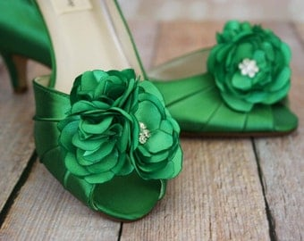 Green Wedding Shoes, Emerald Green Wedding, Peep Toes, Kitten Heel, Flower Wedding Shoes, Wedding Shoes, Bridal Shoes, Custom Wedding