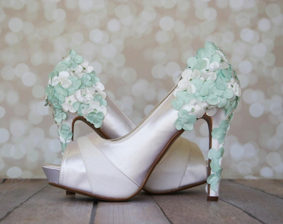 Wedding Shoes -- Ivory Platform Wedding Shoes with Ivory and Mint Satin Flowers on the Heel