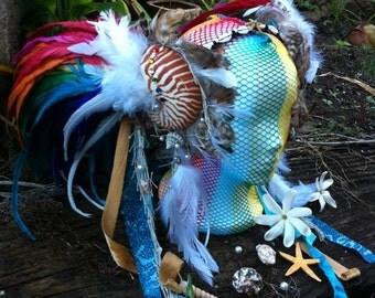 Rainbow Mermaid Nautilus Shell Headdress