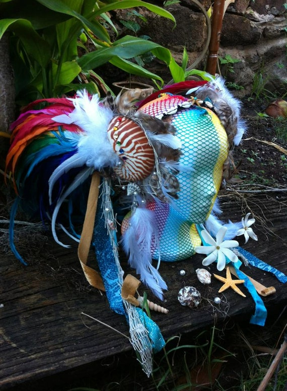 Rainbow Mermaid Nautilus Shell Headdress