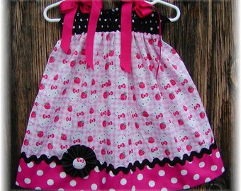 Girls Dress  Pillowcase style....Hello Kitty N Hot Pink Dots...sizes 0-3, 0-6, 6-12, 12-18, 18-24 months, 2T, 3T