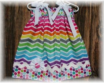 Little Girls Pillowcase Dress....Colorful Chevron N Colorful Dots...sizes 0-3, 0-6, 6-12, 12-18, 18-24 months, 2T, 3T