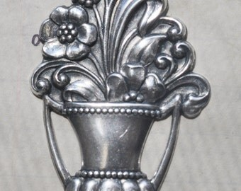 Art Nouveau flower basket brass stamping, Sterling Silver Finish