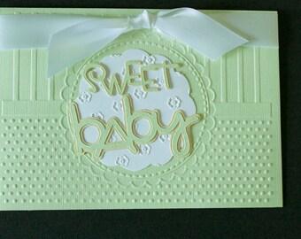 "Handmade Embossed Lime Green ""Sweet Baby"" 5 x 7 Card with Embossed Envelope"