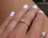 14K Gold filled Herkimer diamond ring, Gold diamond stack ring, Rustic diamond ring