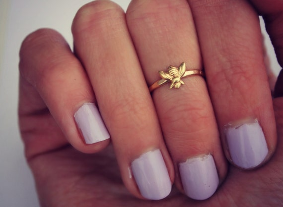 Bee Midi ring 14k gold knuckle ring Bee stacking ring midi
