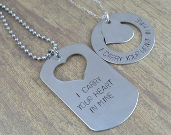I Carry Your Heart In Mine Hand Stamped Necklace Set For Him and Her- Military Wife, Deployment Set