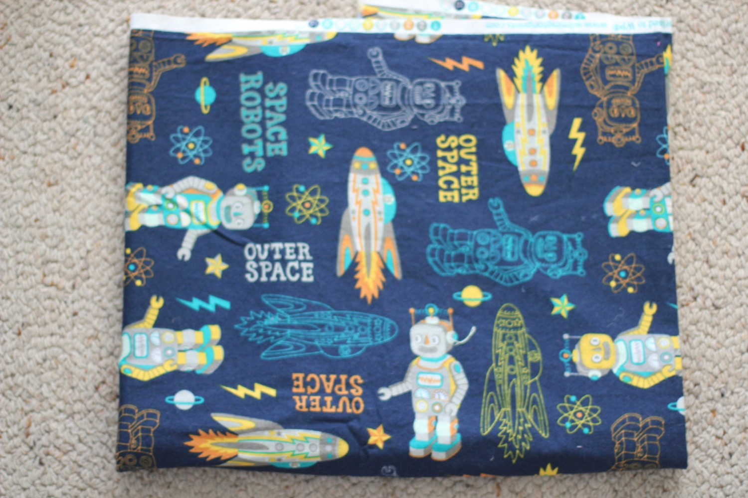 Atomic robots space retro fabric silvia decker 1 by for Vintage space fabric