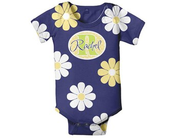 Baby Girl Bodysuit, Personalized Daisy Floral Snapsuit