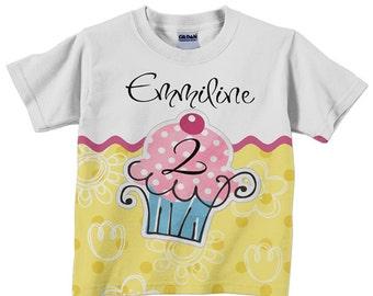 Girl's Cupcake Shirt, Personalized Girls Cupcake Birthday T-Shirt, Childrens Clothing