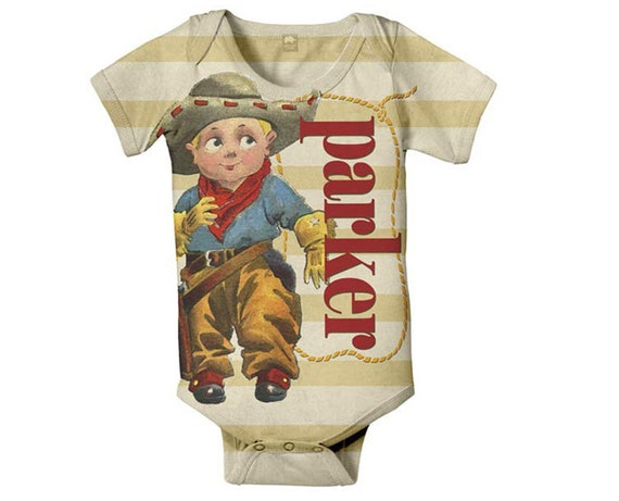 Cowboy Baby Bodysuit, Personalized Retro Western Romper One Piece, Onepiece Clothing