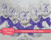 6 Monogrammed Wine Glasses - Great for Bride and Bridesmaids - Wedding Glasses