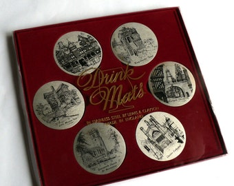 Vintage Drink Mats Coasters in Original Box by Lewis and Clayton Stainess Steel Traditional English - Look as New - Famous Places in Chester