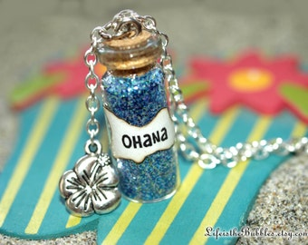 OHANA Necklace with a Flower Charm, Lilo and Stitch,  Ohana Means Family, Disney Bound, Disney Cosplay, Hawaiian,   by Life is the Bubbles