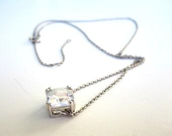 Sterling Silver Solitaire Slider Pendant Necklace Asscher Cut