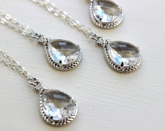 15% OFF SET OF 8 Crystal Clear Necklace Silver Wedding Jewelry - Set of 8 Necklaces Bridesmaid Gift Bridesmaid Jewelry Silver Bridal Jewelry