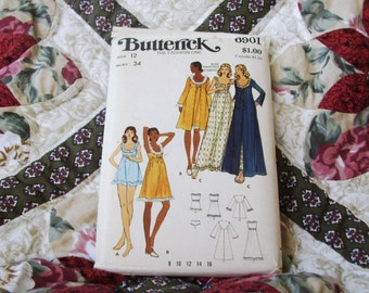 Vintage Uncut  Butterick  Pattern 6901  Misses Robe,Gown & Pajamas   Size  12  The Fashion One