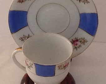 Vintage Demitasse Cup And Saucer blue checked with pink roses footed