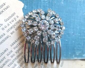 Art Deco Hair Comb Wedding Hairpiece Fashion Repurposed Vintage Rhinestone Statement Jewelry