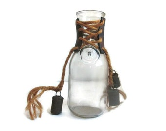 Rustic Milk Jar Glass Dairy Bottle Antique Bells Leather