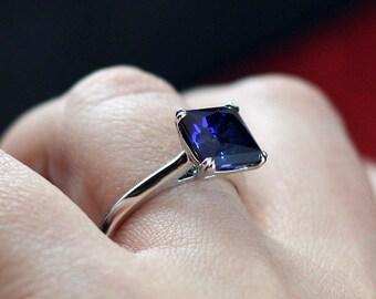 Blue Sapphire Engagement Ring Princess Solitaire Phoebe 3.5 4 ct 9mm White-Yellow-Rose Gold-10k-14k-18k-Platinum