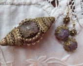 Deco Hand Carved AMETHYST Brass FILIGREE Pin & EARRINGS Demi Parure