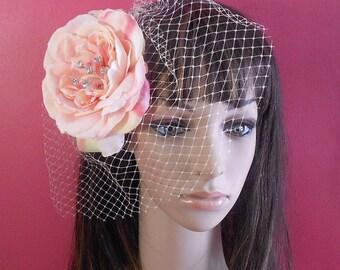 Flower Hair Fascinator-Pink Birdcage Rhinestone Flower Bridal Headpiece-Bridal Accesories