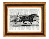 Horse Print, Famous Horses of America, Goldsmith Maid  pulling a sulky, Upcycled Dictionary Page Recycled Book Art Dictionary Print