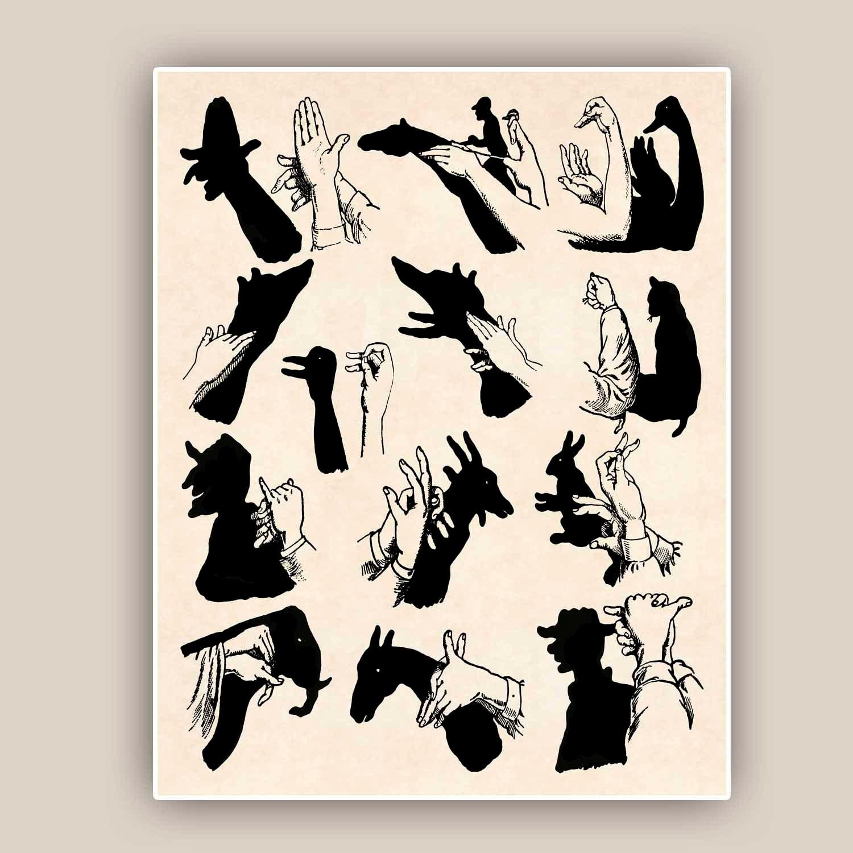 Elephant Hand Shadow Puppet Shadow Puppet Print Hand